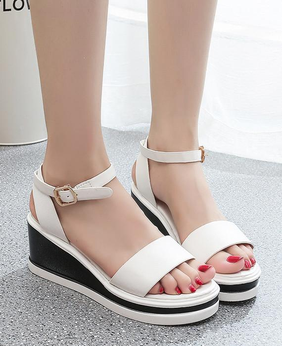 Roman Cover Heel Zipper Wedges Leather Sandals White