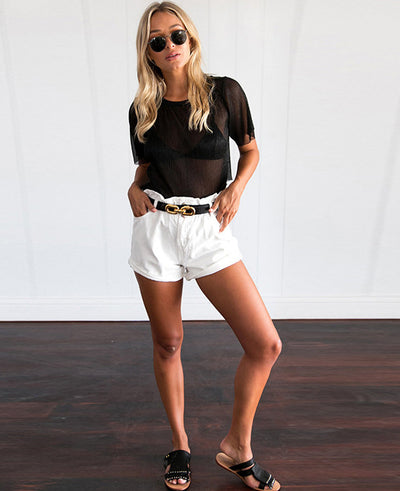 Button Summer Beach Casual Hemming Denim Shorts
