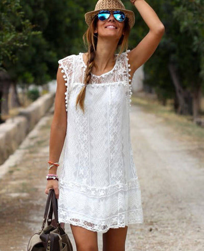 Plus Size Lace Sleeveless Tassel Solid Beach Mini Dress