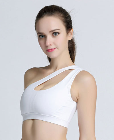 One Shoulder Solid Sports Fitness Yoga Bras