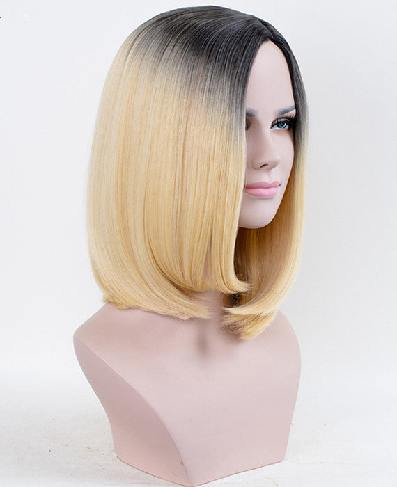 Wig Girls Gradual Change Color Parting Mid Hair