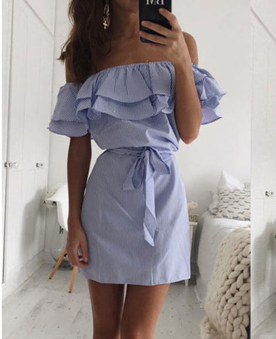 Off the Shoulder Blue Striped Dress-3