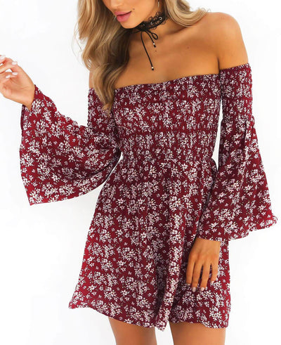 Off The Shoulder Sexy Floral Print Dress