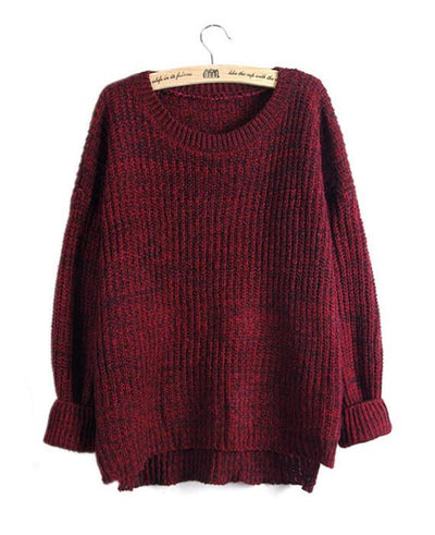 Solid Color Knitted Wool Loose Sweater