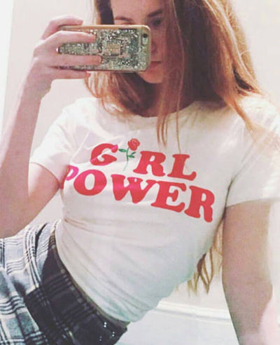 Girl Power Rose Printed Cotton T-shirt