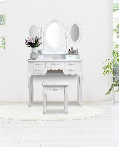 3 Mirrors Makeup Vanities with Drawers White Dressing Table