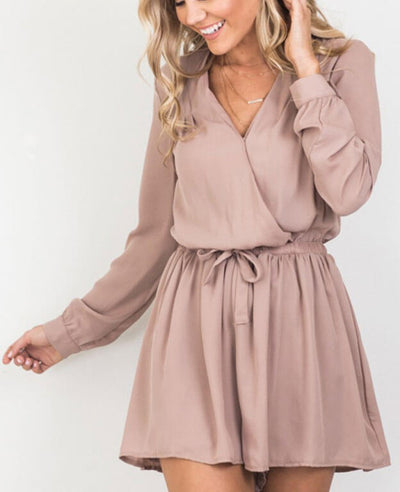 Casual Long Sleeve Depp V-Neck Chiffon Wrap Jumpsuit