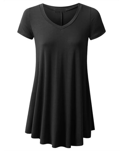 Short Sleeves Flare Tunic Tops Shirt
