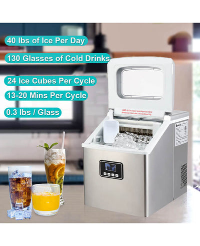 40Lbs/24H Countertop Ice Maker Machine Portable Kitchen Ice Maker