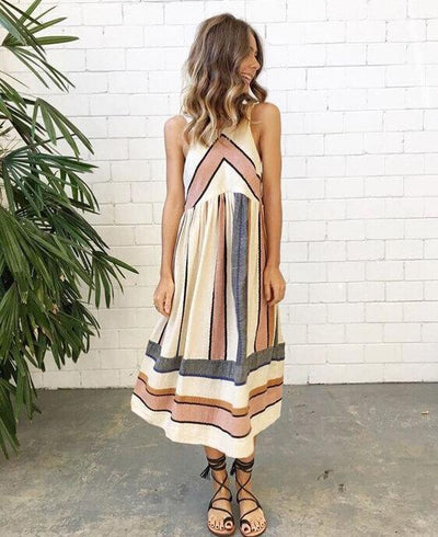 A-Line Sleeveless Stripe Print Boho Beach Maxi Dresses