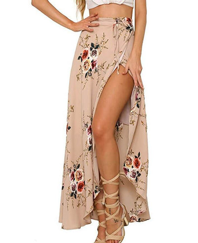 Boho Vintage Floral Print Side Slit Wrap Irregular Long Skirt