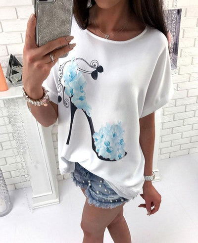 Short Sleeve High Heels And Flower Printed Casual Loose T-shirts