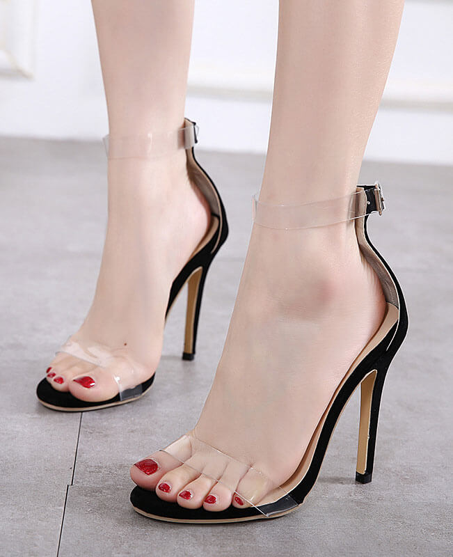 PVC Sexy Clear Transparent Ankle Strap High Heels