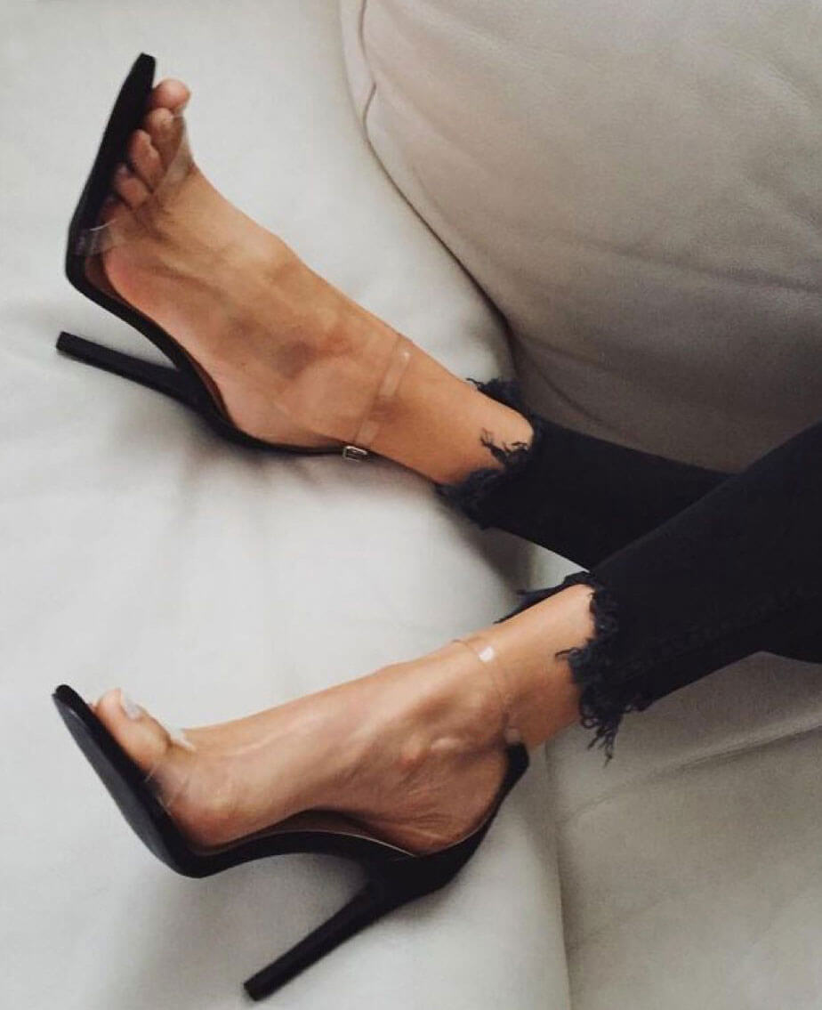 PVC Sexy Clear Transparent Ankle Strap
