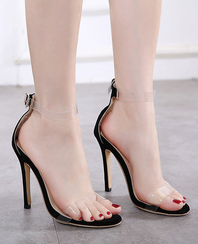 PVC Sexy Clear Transparent Ankle Strap High Heels BLACK 3