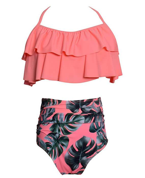 Ruffle Flounce Crop with High Waist Bottom Bikini Sets