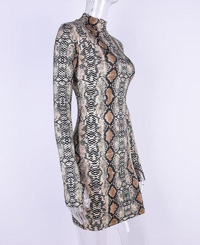 Sexy Snake Skin Print Long Sleeve Mini Club Dress