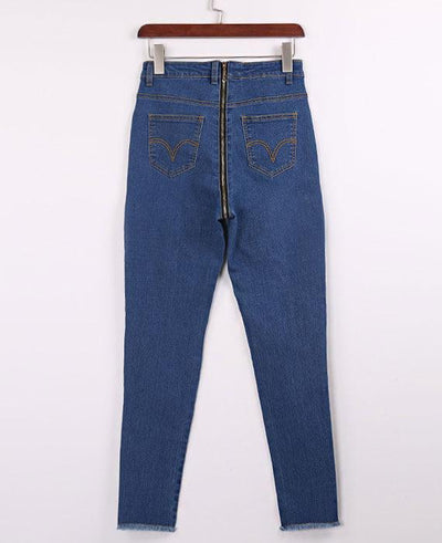 High Waist Skinny Back Zipper Jeans