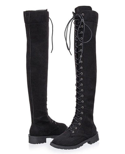 Over the Knee Low heeled Lace Up Boots-2