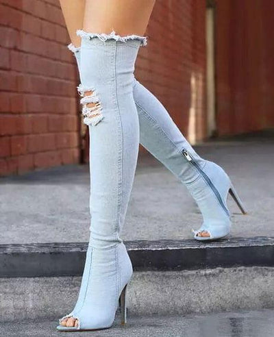 Stretch Denim Over The Knee Thigh High Peep Toe High Heels Boots SKY BLUE