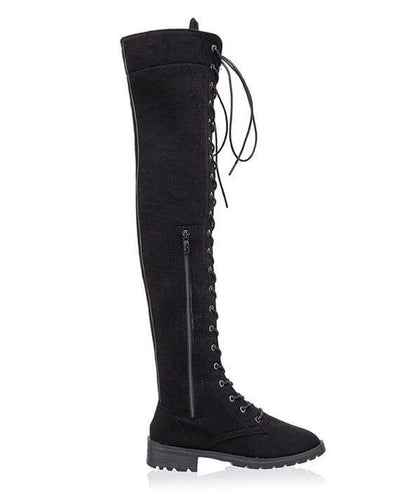 Over the Knee Low heeled Lace Up Boots-3
