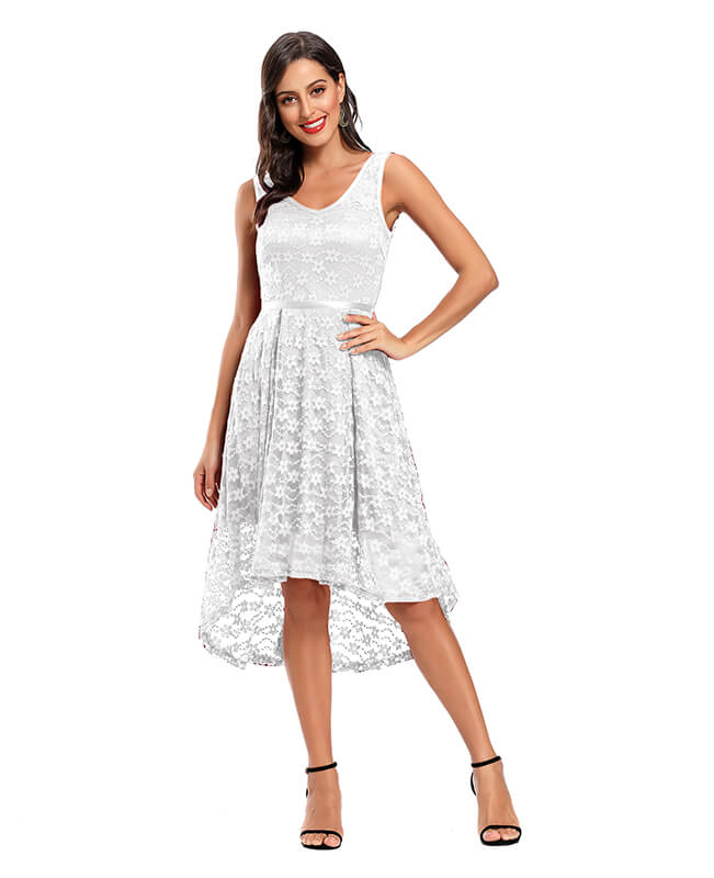 White Lace Short Prom Homecoming Dresses