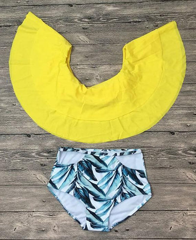Two Piece Off Shoulder Ruffled Bikini Set