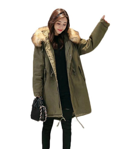 Cotton Padded Long Parka Jacket