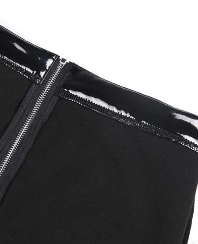 Sexy Clubwear Shine PU Back Front Zipper Leather Pants-12