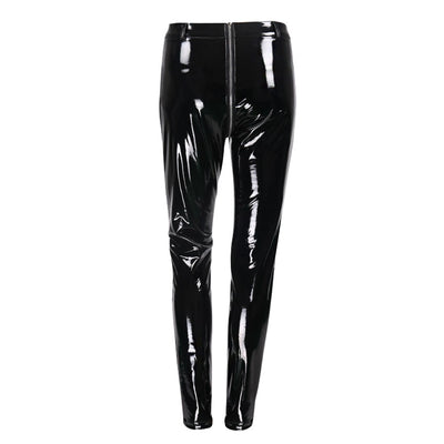 Sexy Clubwear Shine PU Back Front Zipper Leather Pants-11