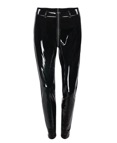 Sexy Clubwear Shine PU Back Front Zipper Leather Pants-3