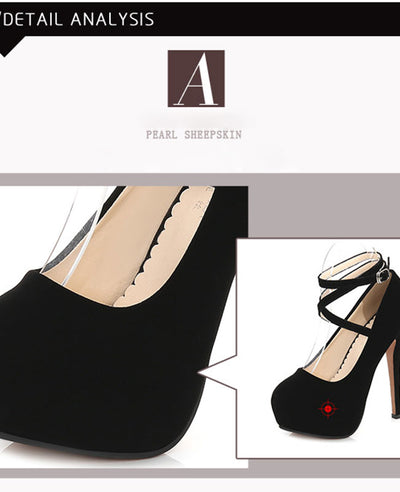 Ankle Strap Platform Shoes Pump Party Dress High Heel