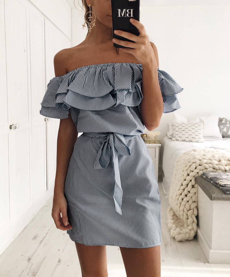 Off the Shoulder Blue Striped Dress-1