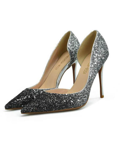 Sexy Metal Heel Sequined Gradient 8cm Super High Heels gray