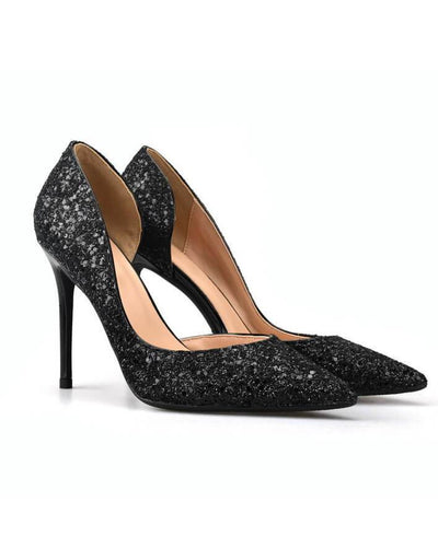Sexy Metal Heel Sequined Gradient 8cm Super High Heels black