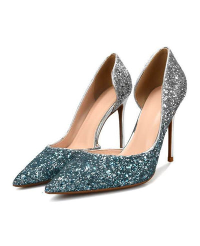 Sexy Metal Heel Sequined Gradient 8cm Super High Heels green