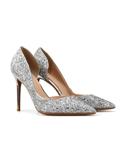 Sexy Metal Heel Sequined Gradient 8cm Super High Heels silver