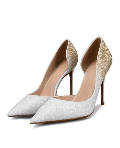Sexy Metal Heel Sequined Gradient 8cm Super High Heels white