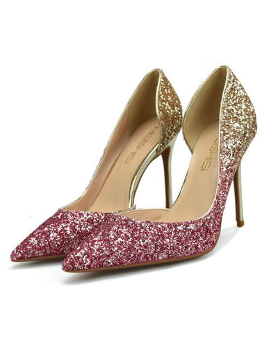Sexy Metal Heel Sequined Gradient 8cm Super High Heels pink