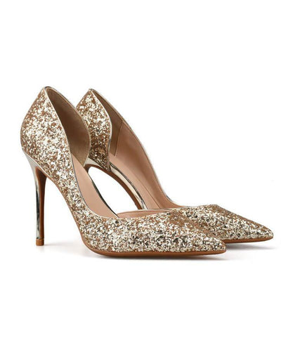 Sexy Metal Heel Sequined Gradient 8cm Super High Heels gold
