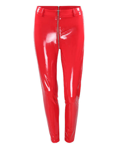 Sexy Clubwear Shine PU Back Front Zipper Leather Pants-8
