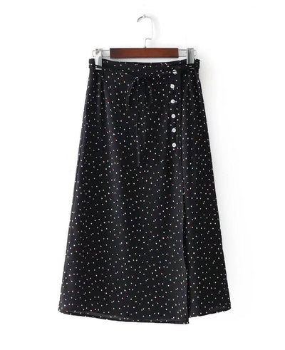 Vintage Floral Print Bandages Split Long Skirt black