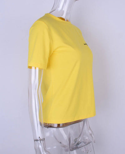 Casual Embroidery Letter Yellow Basic T-Shirt