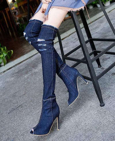 Stretch Denim Over The Knee Thigh High Peep Toe High Heels Boots DARK BLUE