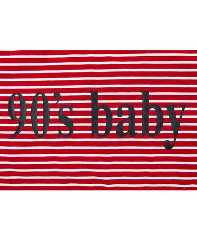 90's BABY Letter Print Striped Red T-Shirt