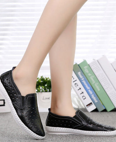 Hollow Out Loafers Split Leather Slip-on Shoes