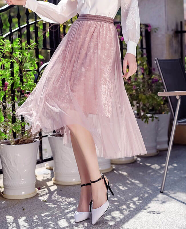 Elastic Collect Waist Mesh Velvet Pleated Long Tulle Skirts