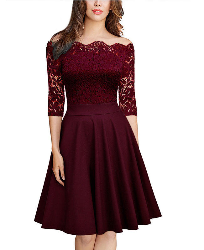 Off the Shoulder Lace Dress-1