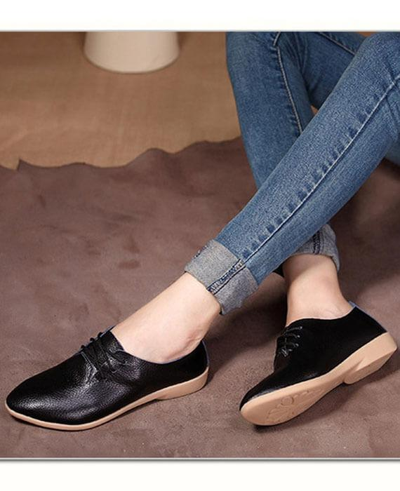 Ballet Leather Round Toe Flats Shoes