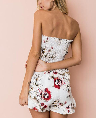 Boho Off the Shoulder Floral Shorts Jumpsuit